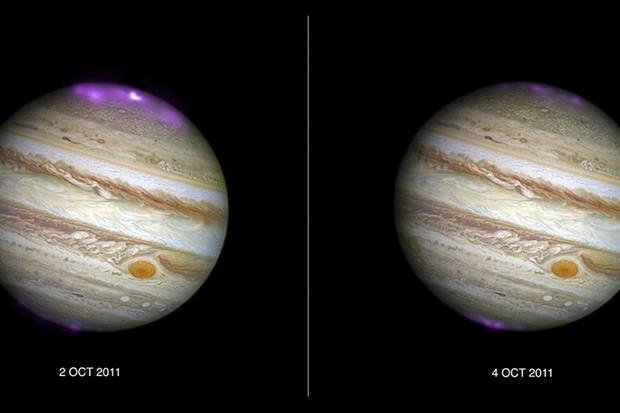 Jupiter 'Northern Lights' caused by solar storms © X-ray: NASA/CXC/UCL/W.Dunn et al, Optical: NASA/STScI