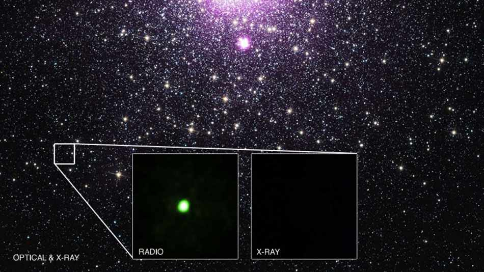 By combining data from Chandra and several other telescopes, astronomers have identified the true nature of an unusual source in the Milky Way galaxy. (© X-ray: NASA/CXC/Univ. of Alberta/B.Tetarenko et al; Optical: NASA/STScI; Radio: NSF/AUI/NRAO/Curtin Univ./J. Miller-Jones)