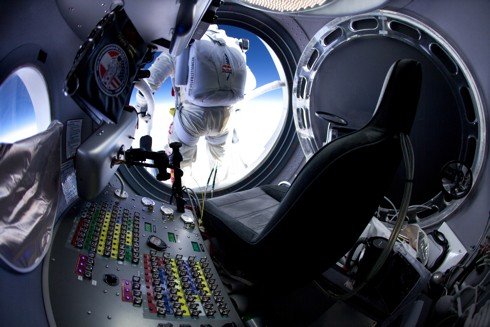 Baumgartner prepares to leave the capsule during the 71,500ft test jump © Red Bull