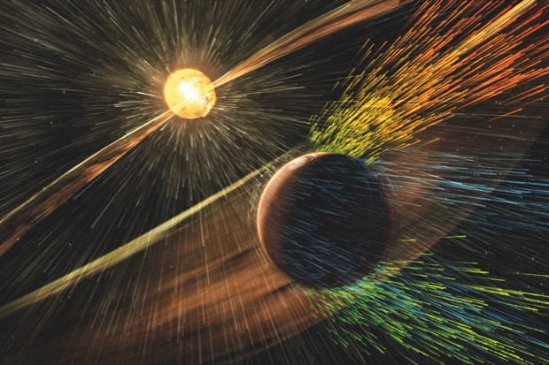 Mars's atmosphere could have been obliterated by the solar wind, as depicted in this illustration © NASA
