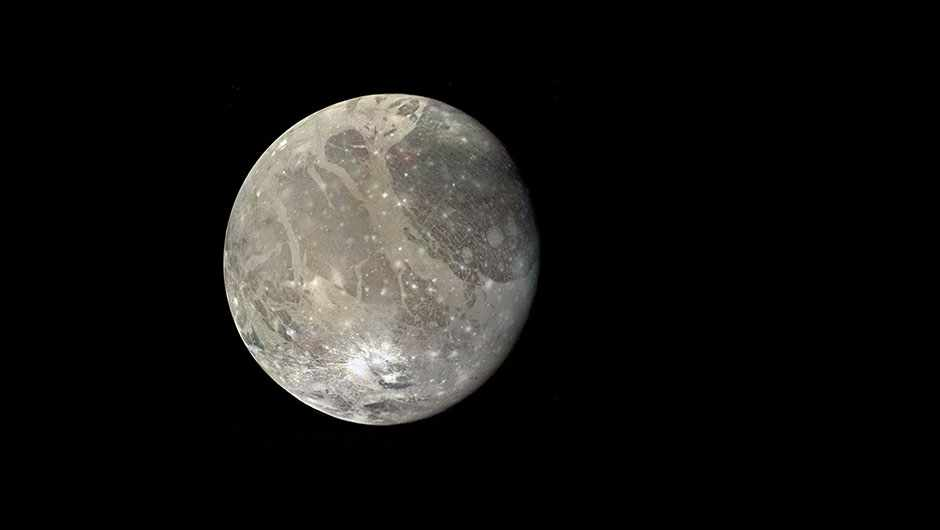 Ganymede, Jupiter's largest moon, shows signs of past tectonic activity