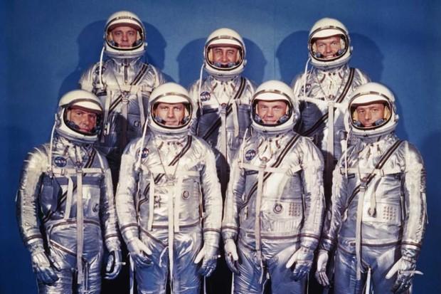 Front row, left to right, Walter M. Schirra, Jr., Donald 'Deke' K. Slayton, John Glenn Jr., and M. Scott Carpenter. Back row, left to right, Alan Shepard Jr., Virgil I. 'Gus' Grissom, and Gordon Copper. © NASA/Roger Ressmeyer/Corbis/VCG via Getty Images