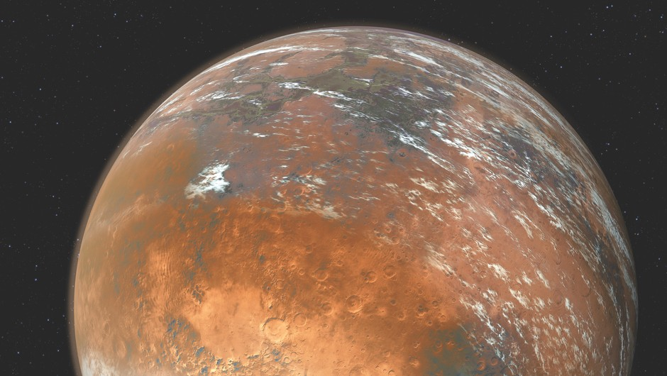 View on a muddy Mars, with a wet atmosphere. © Getty Images