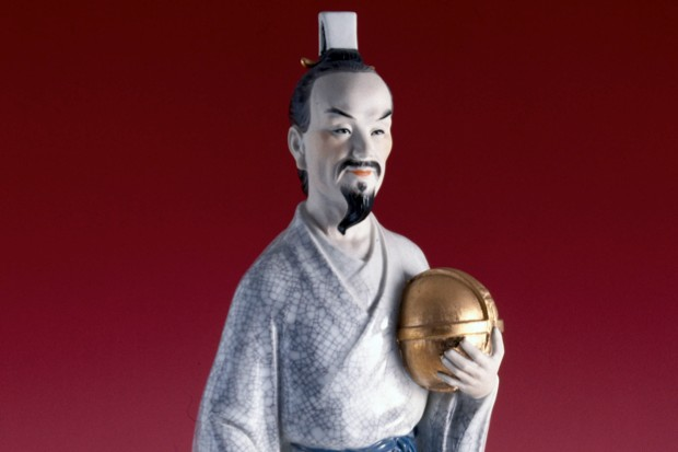 Porcelain statuette of the Chinese astronomer, mathematician and seismologist, Zhang Heng (78-139 AD) © SSPL/Getty Images)