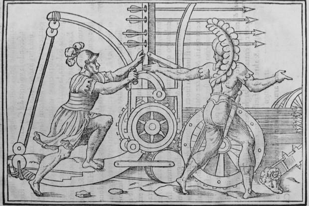 A Roman Ballista crossbow from Discorso della Religione Antica de Romani, 1570