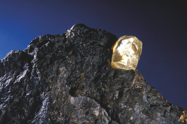Diamond trapped in kimberlite rock © Getty Images