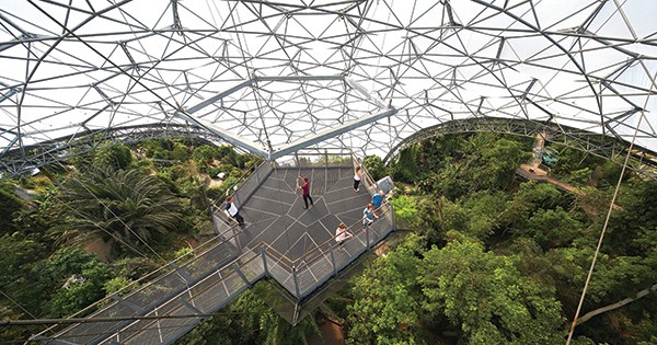 """Sir Tim Smit's vision for the Eden Project was """"a great green cathedral"""" to plants. It opened to the public in 2001 © The Eden Project"""