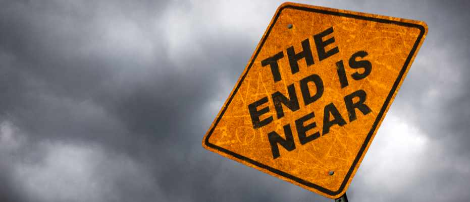 Road sign indicating the end is near.