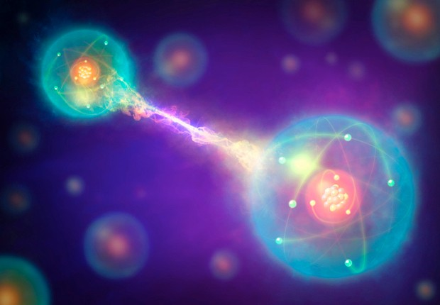 Subatomic particles can become entangled. Even if they are separated across great distances, a change or measurement to one particle will affect the other © Getty Images