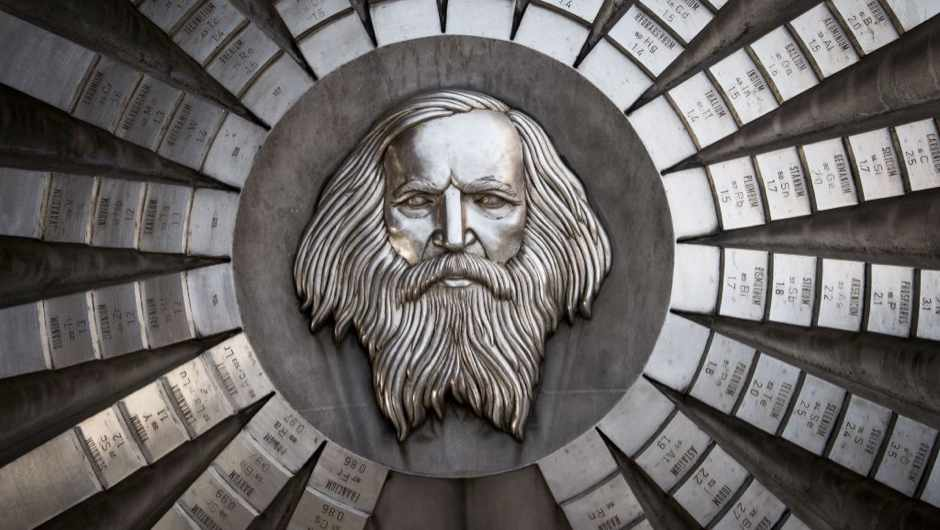 A picture taken on January 13, 2019 shows a sculpture of Russian chemist Dmitri Mendeleev. The monument made of milled stainless steel by sculptor Karol Lacko in 1974 is located in front of the Faculty of Chemical and Food Technology of Slovak Technical University, in Bratislava, Slovakia © Vladimir Simicek/AFP/Getty Images)