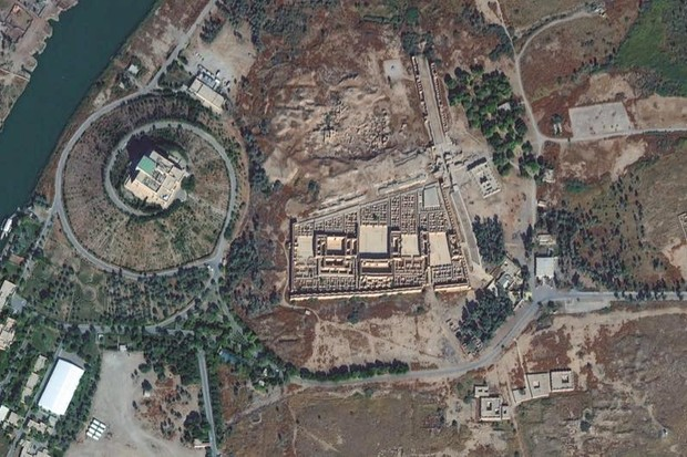 BABYLON, HILLAH, IRAQ - NOVEMBER 20, 2016:  This is DigitalGlobe closeup satellite imagery of the remains and location of Babylon -- and ancient city in Mesopotamia.  Located in Hillah, Iraq. (Photo DigitalGlobe via Getty Images)