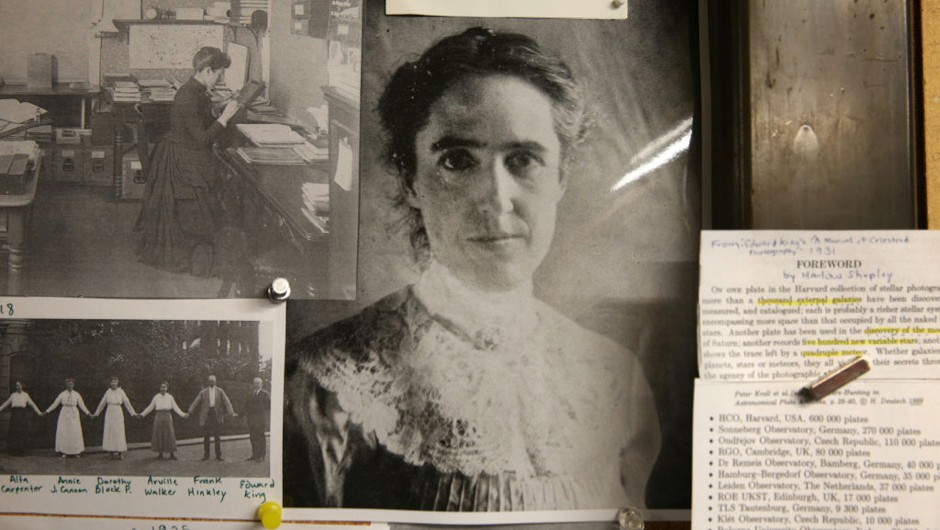 Henrietta Leavitt, centre, and Williamina Fleming, top left, hang in the Plate Stacks office at the Harvard Smithsonian Center for Astrophysics © Craig F. Walker/The Boston Globe via Getty Images