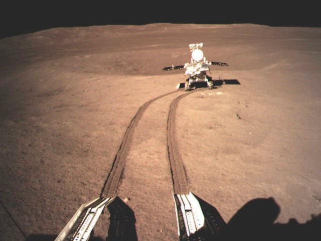 Selfie time! The Yutu 2 rover trundles across the Moon's surface, making fresh tracks as it goes © China National Space Administration