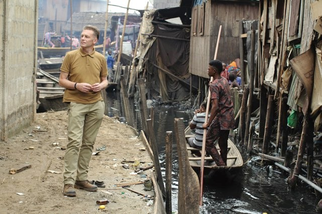 Filming in Makoko, Lagos, Nigeria, for a new BBC documentary called Population With Chris Packham © BBC