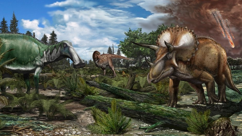 Dinosaurs snuffed out in their prime (Reconstruction of a late Maastrichtian (~66 million years ago) palaeoenvironment in North America, where a floodplain is roamed by dinosaurs like Tyrannosaurus rex,Edmontosaurus and Triceratops. Image © Davide Bonadonna)