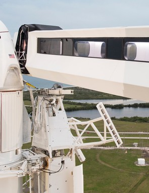 The SpaceX Crew Dragon spacecraft is seen atop the company's Falcon 9 rocket on the launch pad of Launch Complex 39A before the early Saturday morning launch of the Demo-1 mission, Friday, 1 March 2019 at the Kennedy Space Center in Florida ©NASA
