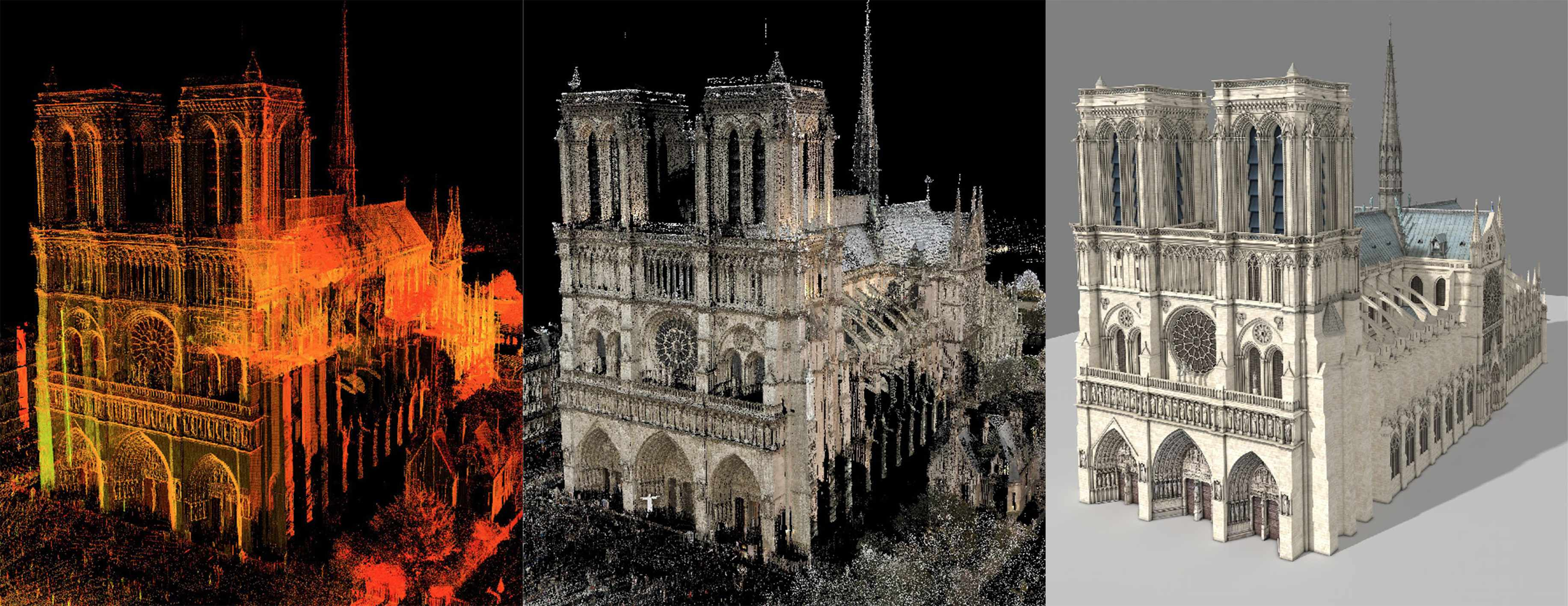 The laser scan of Notre-Dame was combined with panorama photographs to add colour, which was finally rendered as a 3D model © Andrew Tallon/Vassar College