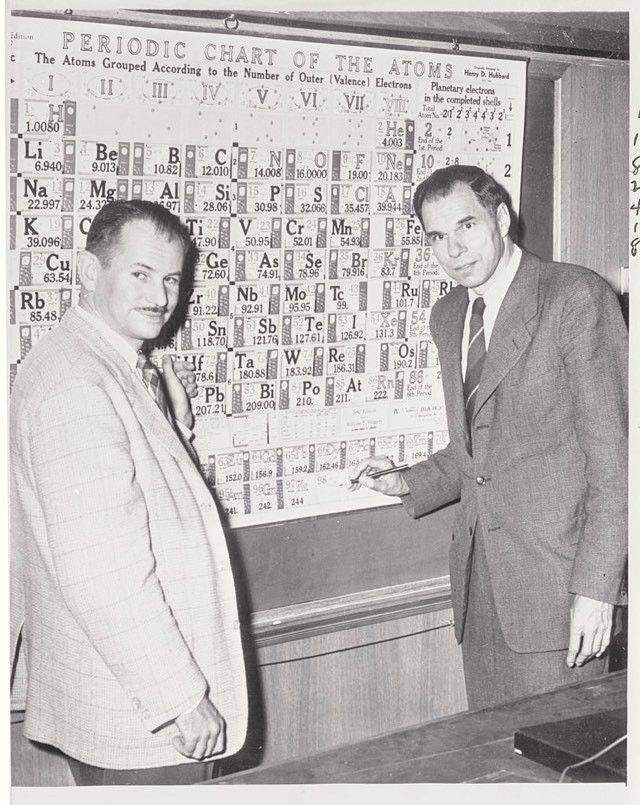 Dr Edwin McMillan (left) and Dr Glenn Seaborg (right) pointing to a space on the chart (98-CF) designating californium © Bettmann/Getty Images