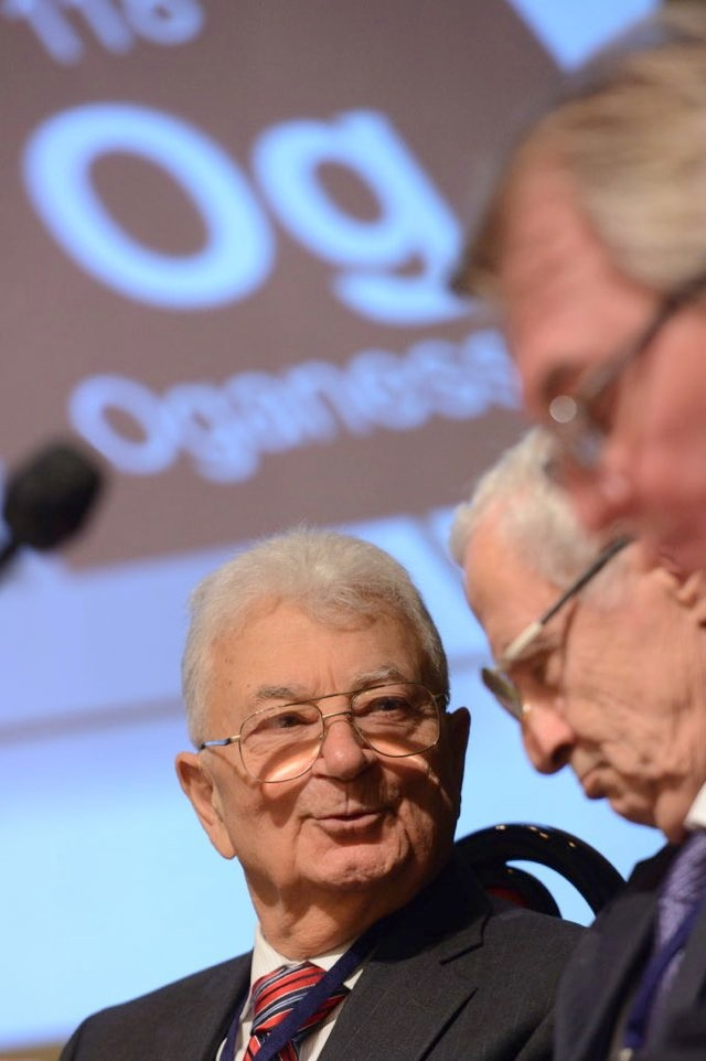 Yuri Oganessian attends a ceremony to mark the official recognition of four new chemical elements 113, 115, 117, and 118, added to the Periodic Table © Nikolai GalkinTASS via Getty Images