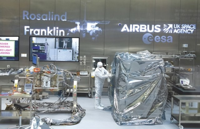 ExoMars rover under construction in a clean room © ESA/Airbus