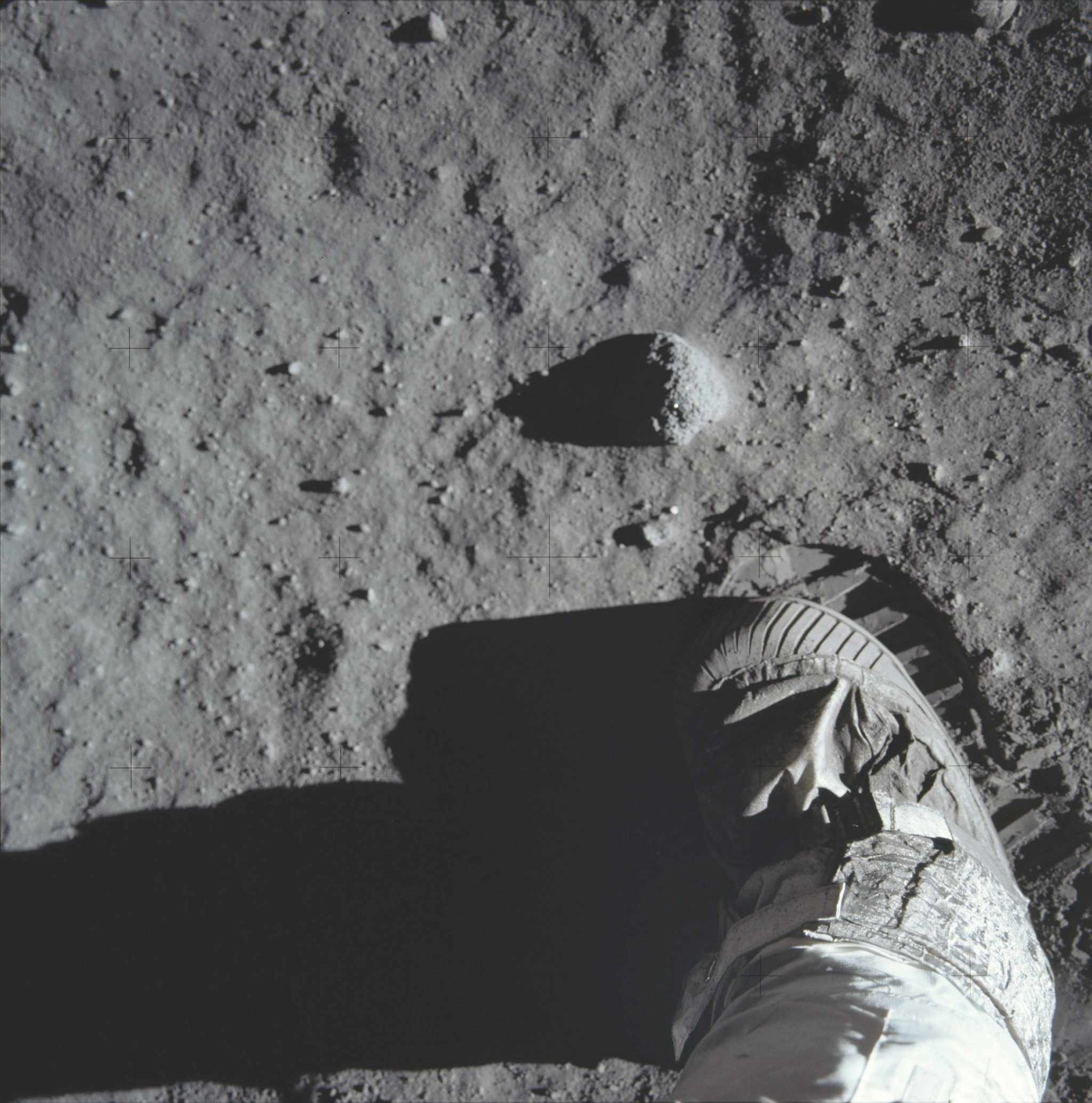 Aldrin photographed the impression his spacesuit's boot left in the lunar surface so that experts back home could study its soil mechanics. © NASA/JPL