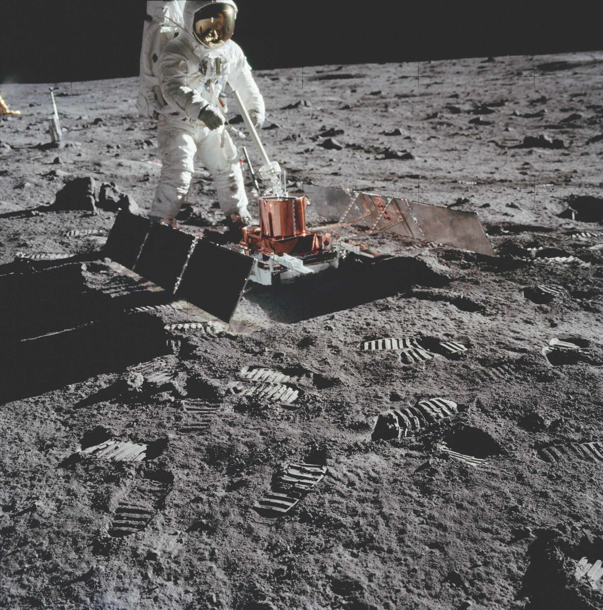 Four very sensitive seismometers measured moonquakes in the lunar crust or vibrations caused by meteorite impacts. Any relative motion was recorded as an electrical impulse and sent directly to Earth. Power came from two solar panels and a thermal shroud protected it from the extremes changes of temperature. The 21-day experiment found that seismic events on the Moon are less frequent than earthquakes on Earth. It also recorded erosion events, thought to be landslides along the walls of relatively young craters. © NASA/JPL
