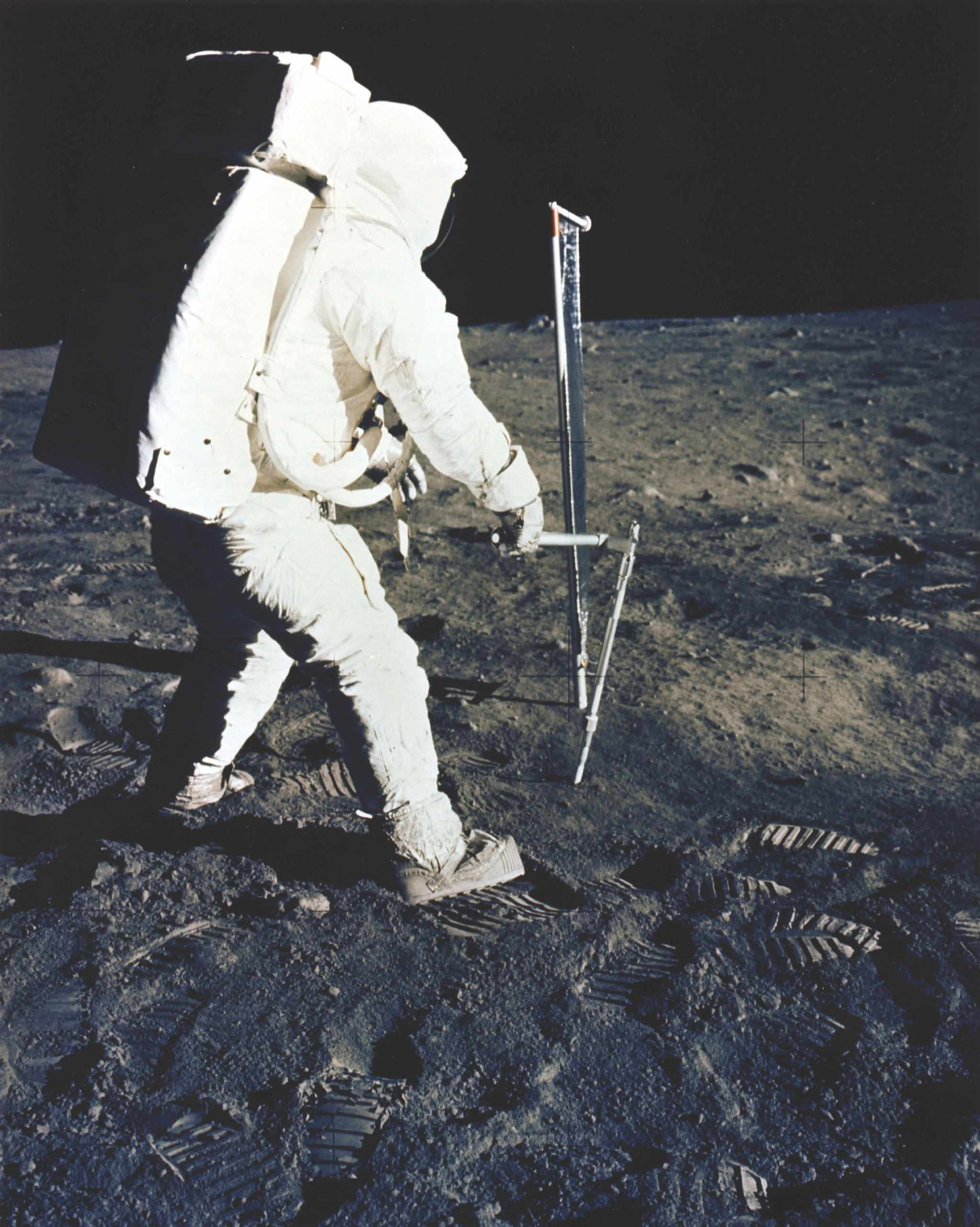 The solar wind experiment measured the abundances and isotopes of solar wind particles, particularly the noble gases helium, neon and argon. It was made of very thin aluminium foil. Solar wind particles travelling at hundreds of kilometres a second penetrated the foil and got trapped. The experiment was set up about six metres from the lunar module and packed up after 77 minutes on the surface. The foil was analysed in a mass spectrometer back on Earth and revealed a more detailed picture of the solar wind's particles than earlier remote experiments had. © NASA/JPL