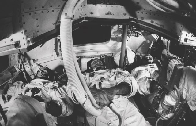 Apollo 8's crew, William Anders, James Lovell Jr and Frank Borman, prepare for their circumlunar flight ahead of its launch on 21 December 1968 © Alamy