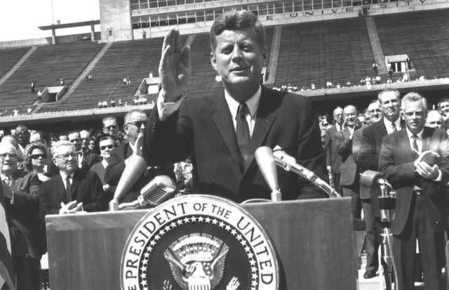 President Kennedy infused his speech with a clear sense of optimism and urgency while also acknowledging the risk and cost of the Apollo programme © Alamy