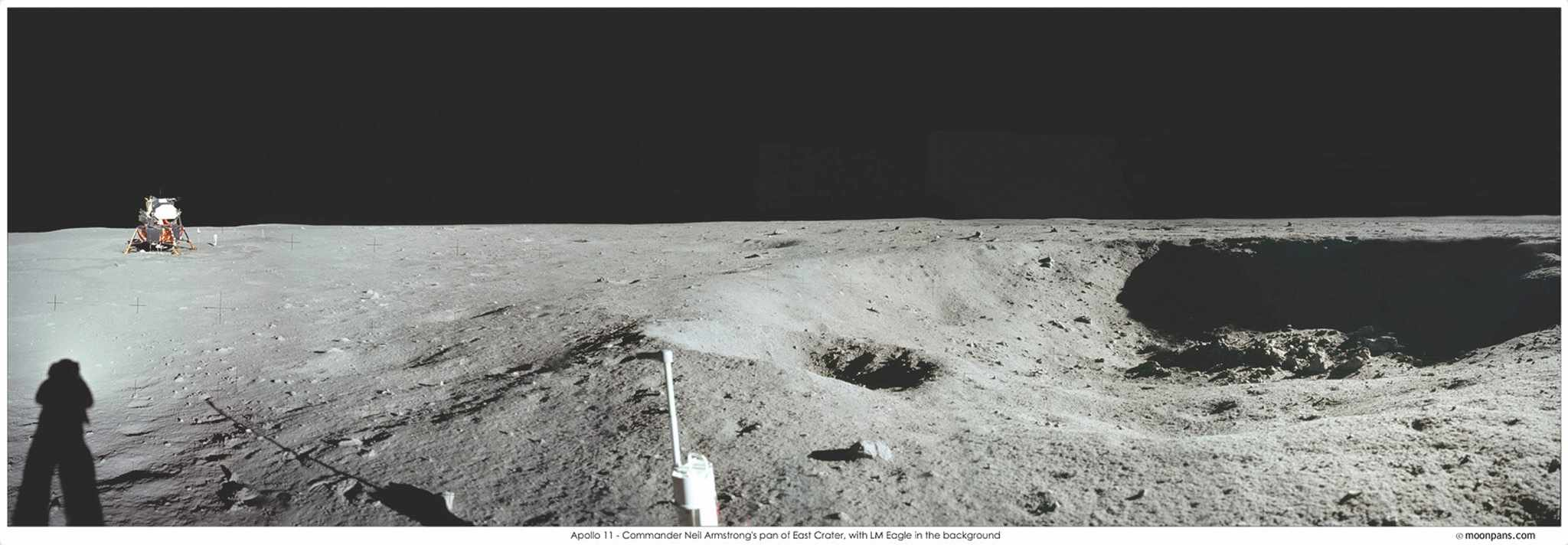 Around 60m east of the lunar module, Armstrong decided he had gone far enough and stopped to take this panoramic shot. It shows the lunar module on the left and East Crater on the right. The crater is approximately 30m wide and 4m deep. © NASA/JPL