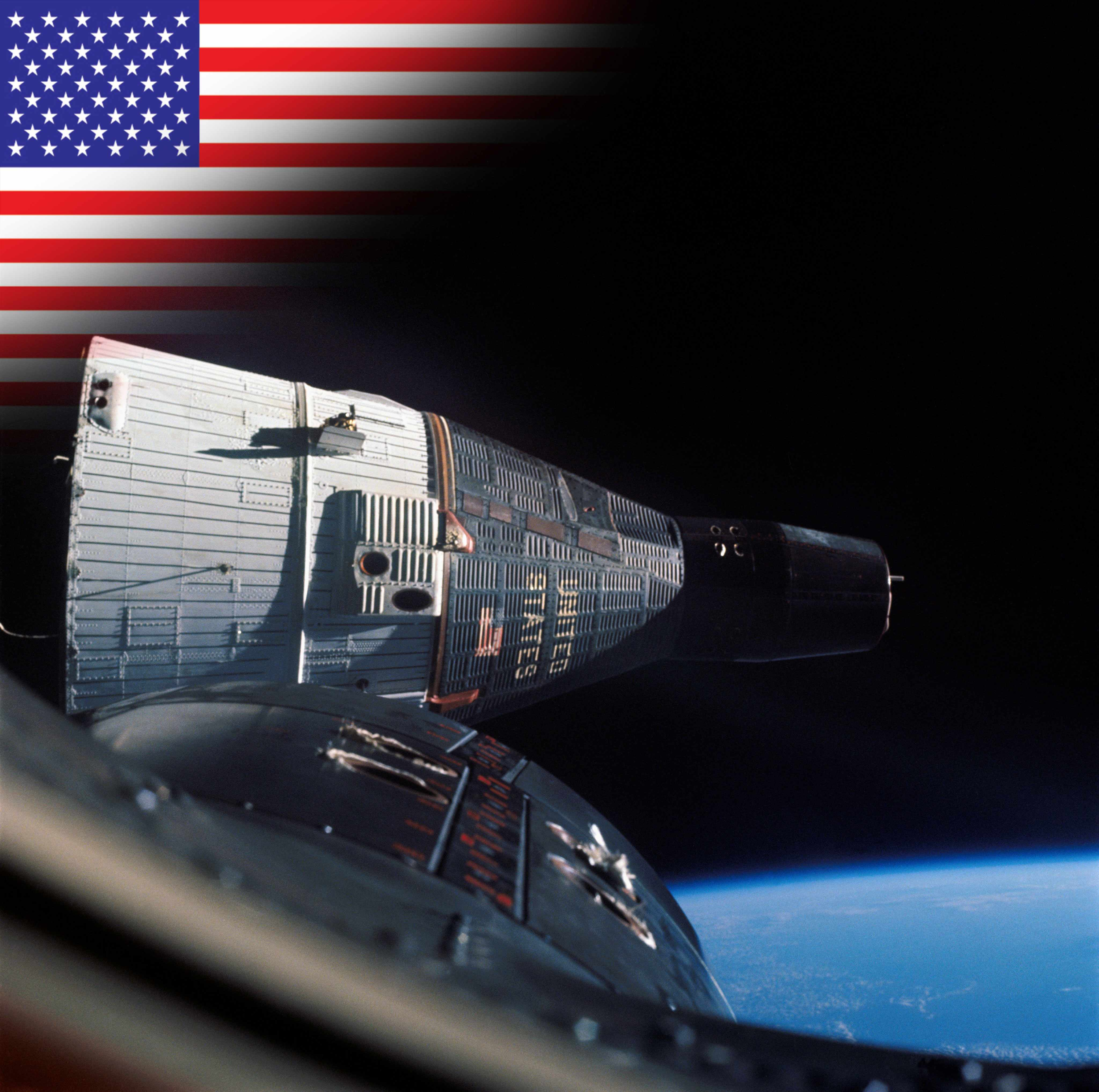 Gemini 6A and 7 make the first orbital rendezvous. (Gemini 7 spacecraft was taken from Gemini 6 during rendezvous © NASA)