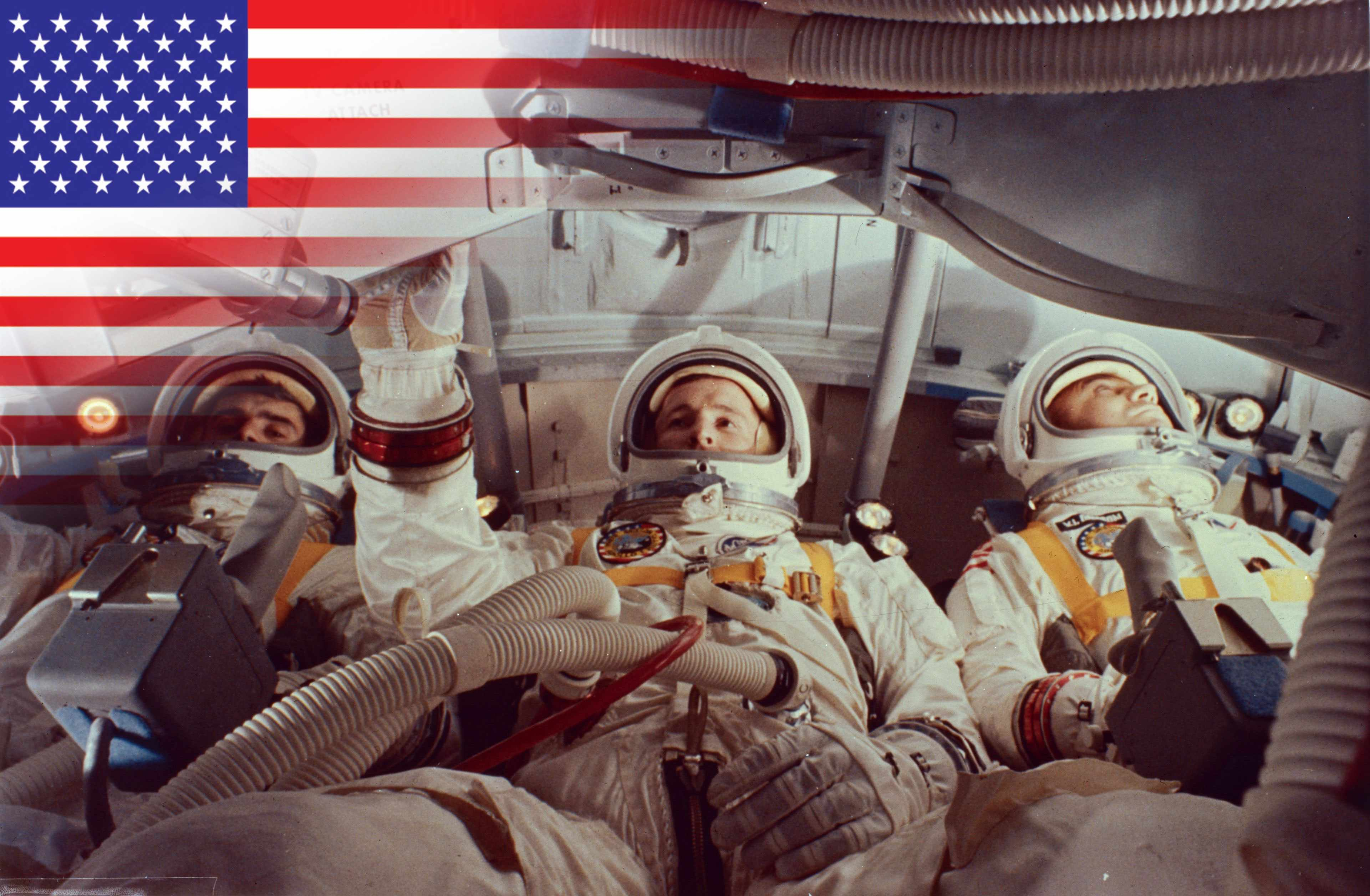 Virgil I Grissom, Edward White and Roger Chaffee inside a practice module for the aborted Apollo 1 mission at Cape Kennedy, Florida. All three men were killed when a fire swept through the oxygenated Command Module during a pre-flight test on 27th January, 1967. (Photo by MPI/Getty Images)