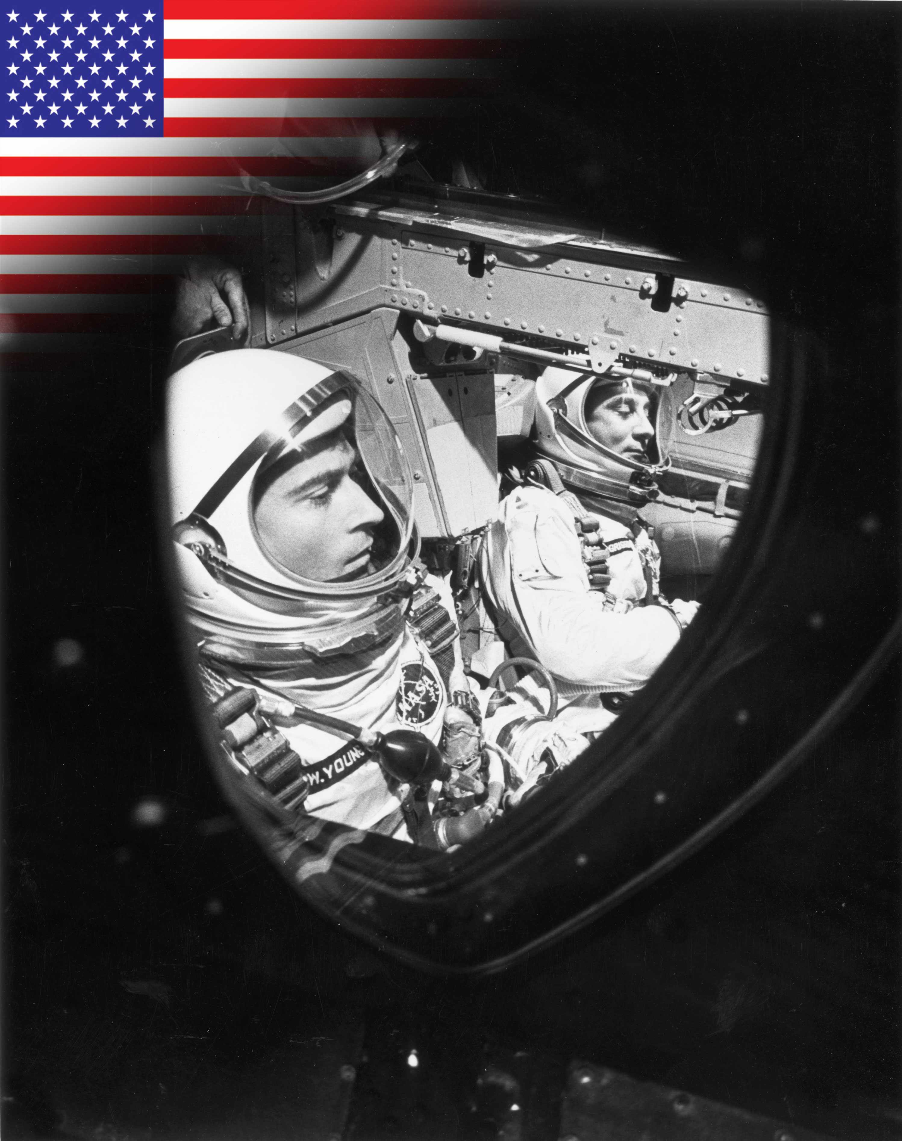 Gemini 3 sees two astronauts orbit Earth and return safely. (John W. Young (L) and Virgil 'Gus' Grissom (R) sitting in the GT-3 spacecraft just before the hatches were closed © NASA/Getty Images)