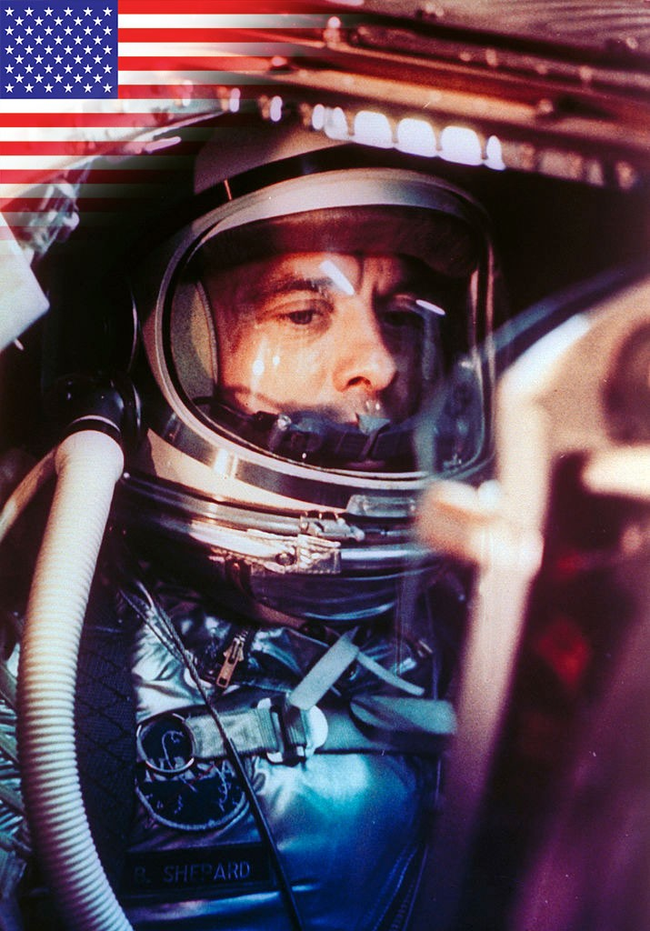 Alan Shepard makes a 15-minute suborbital space flight. © Time Life Pictures/NASA/The LIFE Picture Collection via Getty Images/Getty Images