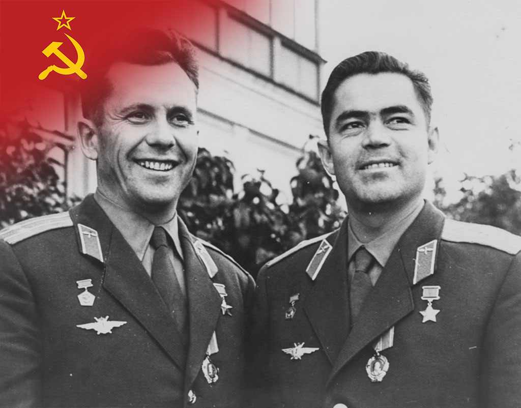 Vostok 3 and 4 put two people in space at the same time. (Andriyan Nikolayev (left) and Pavel Popovich, of the Vostok 3 and Vostok 4 space missions © Central Press/Hulton Archive/Getty Images)