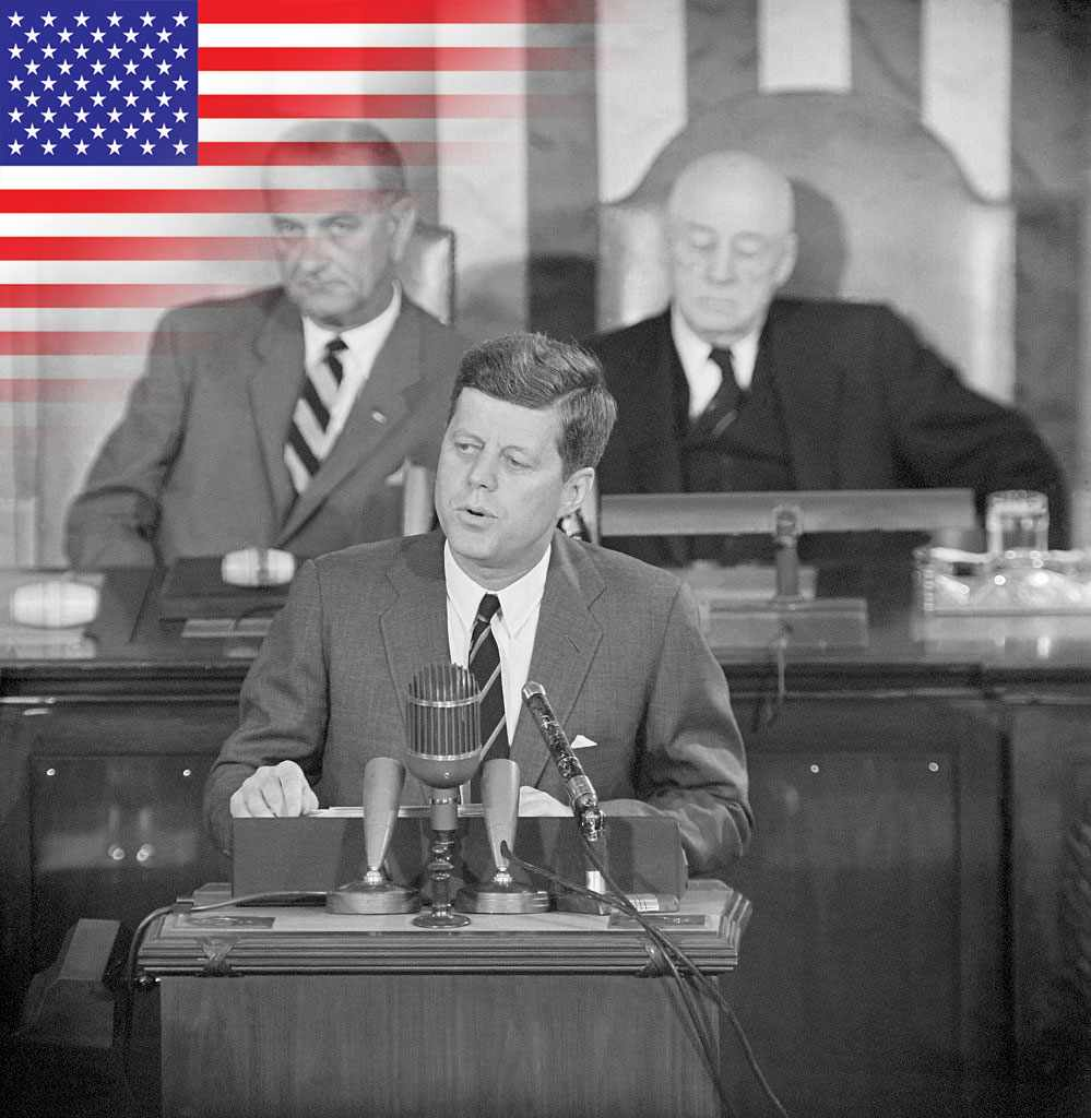 President Kennedy announces his plans to send men to the Moon. © Getty Images