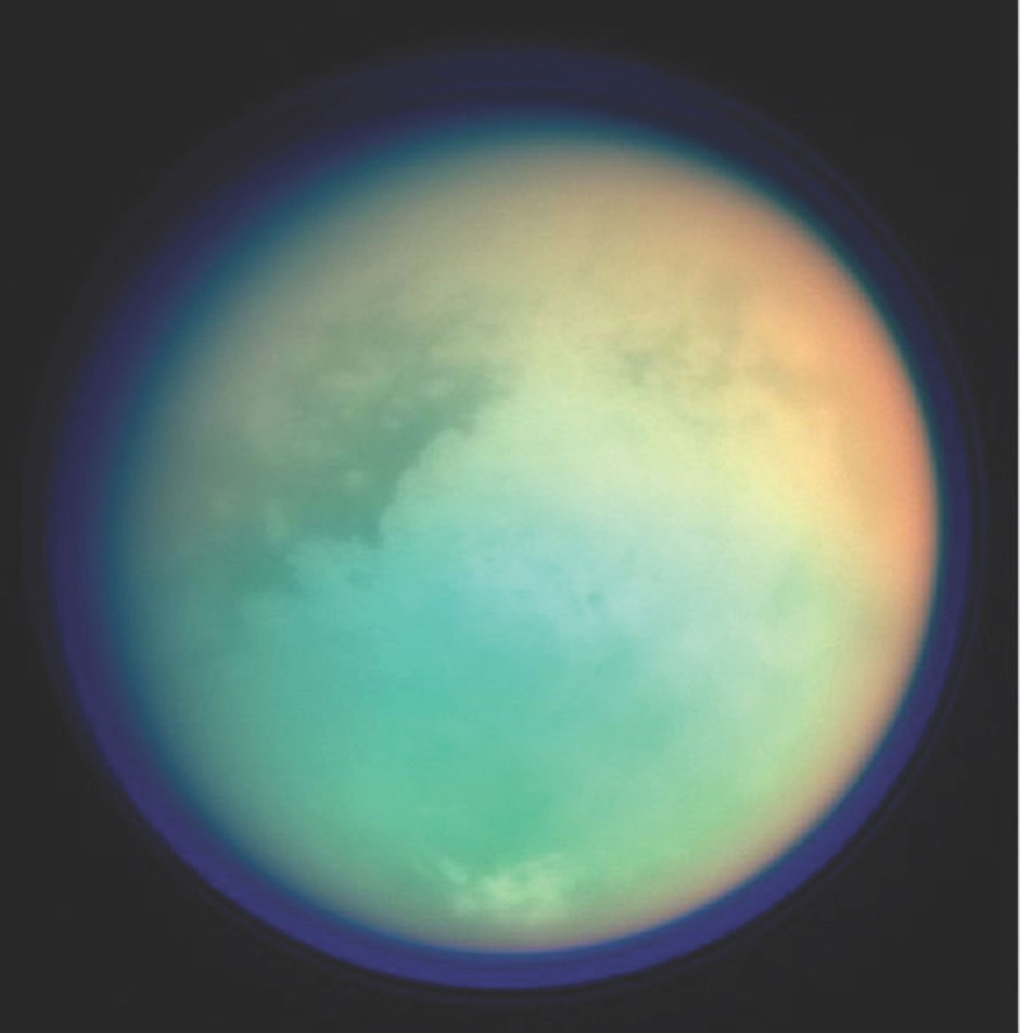 Photo of Titan in false colour, taken by the Cassini craft © Getty Images