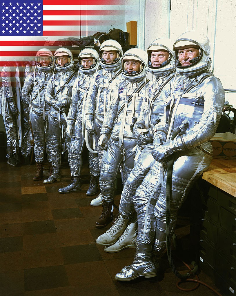The astronauts of the Mercury programme are introduced. © Getty Images