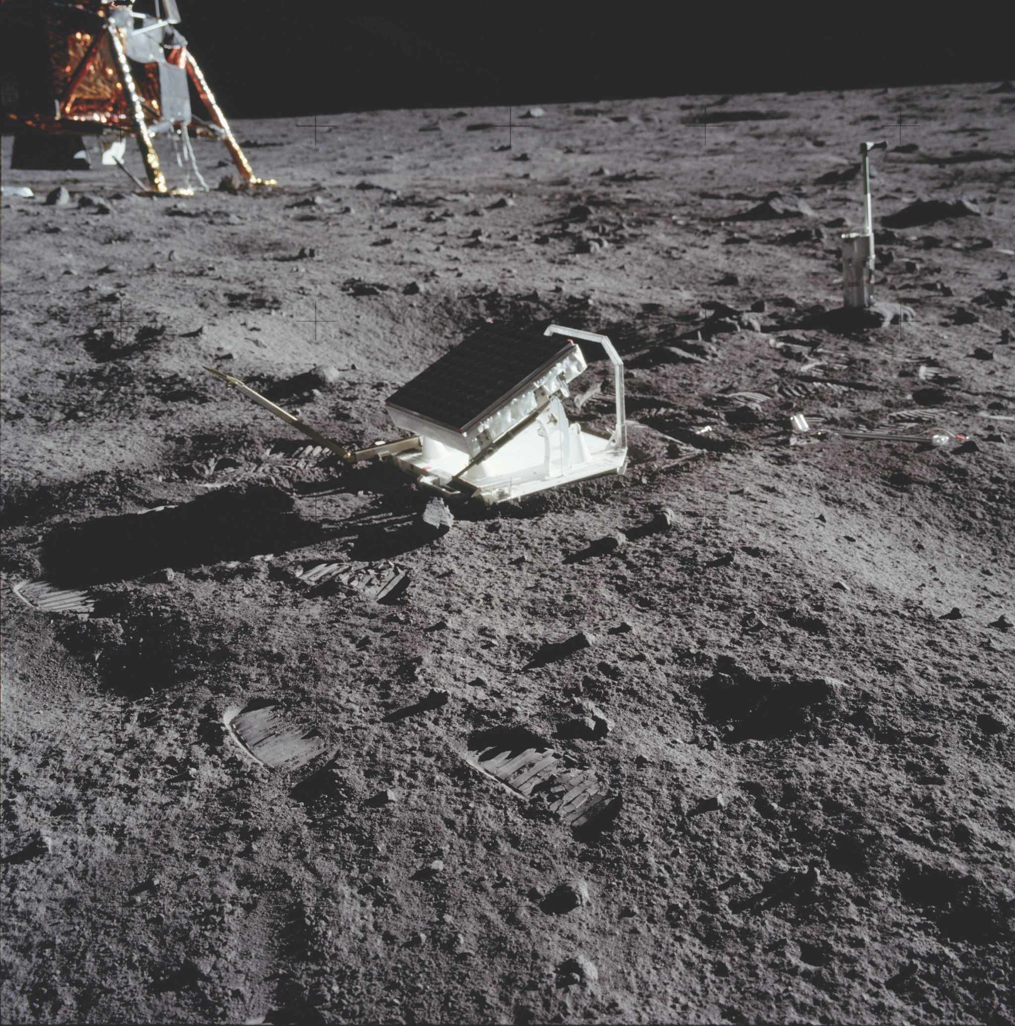 This first laser ranging reflector to be placed on the Moon was designed to monitor the distances between stations on Earth and the Apollo 11 landing site. The data has been used in studies of gravity, relativity and lunar geology. Made up of 100 small, fused silica cubes that reflect laser light directly back to its source, the reflector was placed about 14m from the lunar module. The first measurements were made at Lick Observatory on 1 August 1969 and are still being taken today. © NASA/JPL