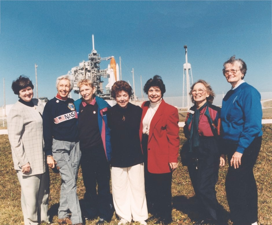 The seven surviving members of the Mercury 13, pictured in 1995. From left: Gene Nora Jessen, Wally Funk, Jerrie Cobb, Jerri Truhill, Sarah Rutley, Myrtle Cagle and Bernice Steadman © NASA