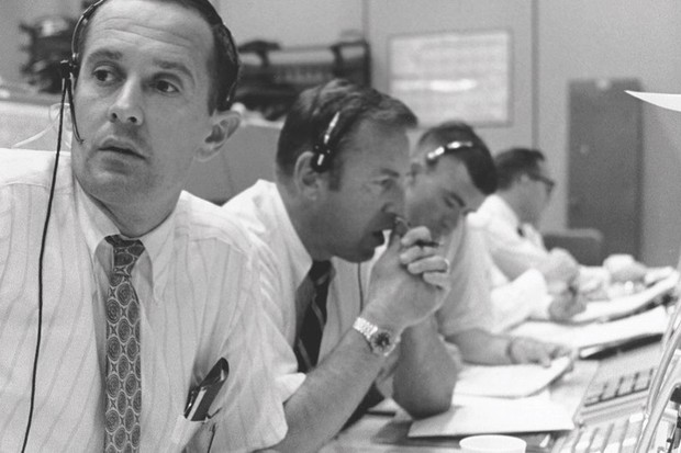 Apollo 11 Space Mission: Seconds from disaster (Tensions ran high in mission control during the moments before Eagle landed on the Moon. From left capcom Charlie Duke, back-up commander Jim Lovell and back-up lunar module pilot Fred Haise © NASA/JPL)