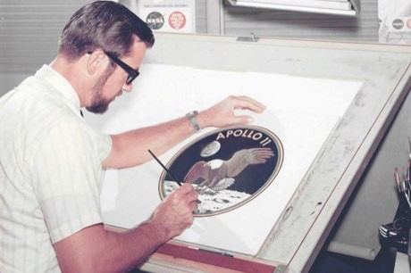 NASA artist James R Cooper works on the Apollo 11 patch design (used with the kind permission of Daniel H Cooper/apollo11artist.com)