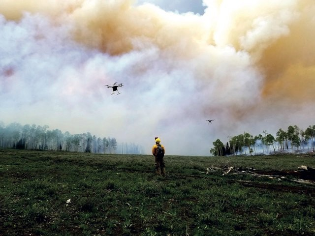Plucky drones soar into the choking clouds from the forest fire to obtain smoke samples, which can then be chemically analysed