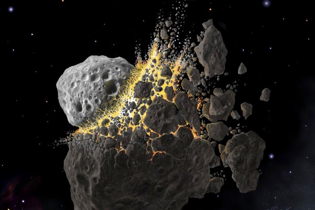 Giant asteroid collision in outer space kicked off ancient ice age © Don Davis, Southwest Research Institute