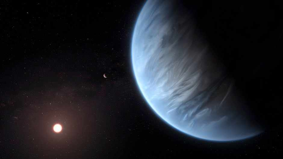 Artist's impression of K2-18b, the first potentially habitable super-Earth where water vapour has been detected (ESA/Hubble/M Kornmesser/PA)