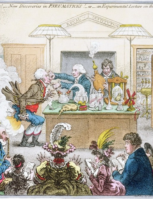 Caricature of a chemical lecture by James Gillray, 1802 © Science Museum Group