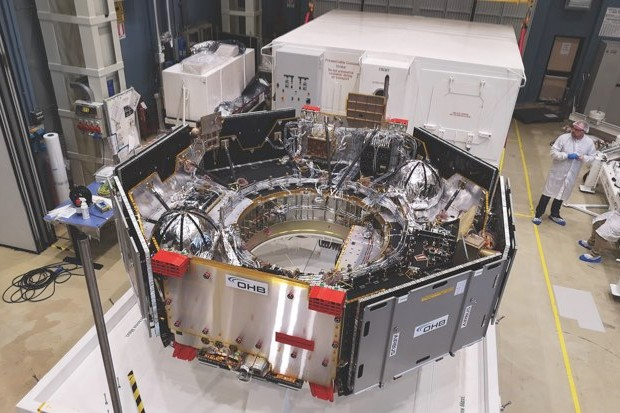 The ESA carrier module that will house the Rosalind Franklin rover on its journey from Earth to Mars is under construction here. It will also provide the communication link between Earth and the spacecraft during the trip © ESA