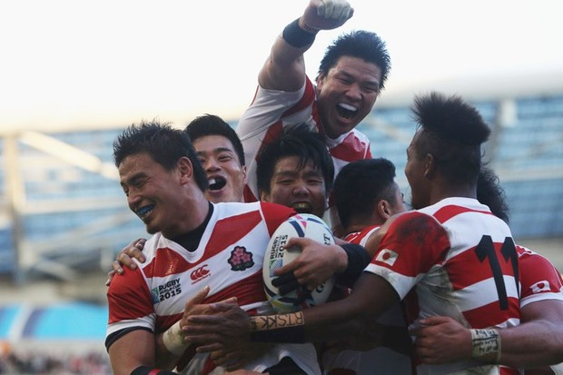Japan, hosts of the 2019 Rugby World Cup, caused one of the sport's most memorable moments when they beat South Africa during the 2015 tournament in England © Charlie Crowhurst/Getty Images