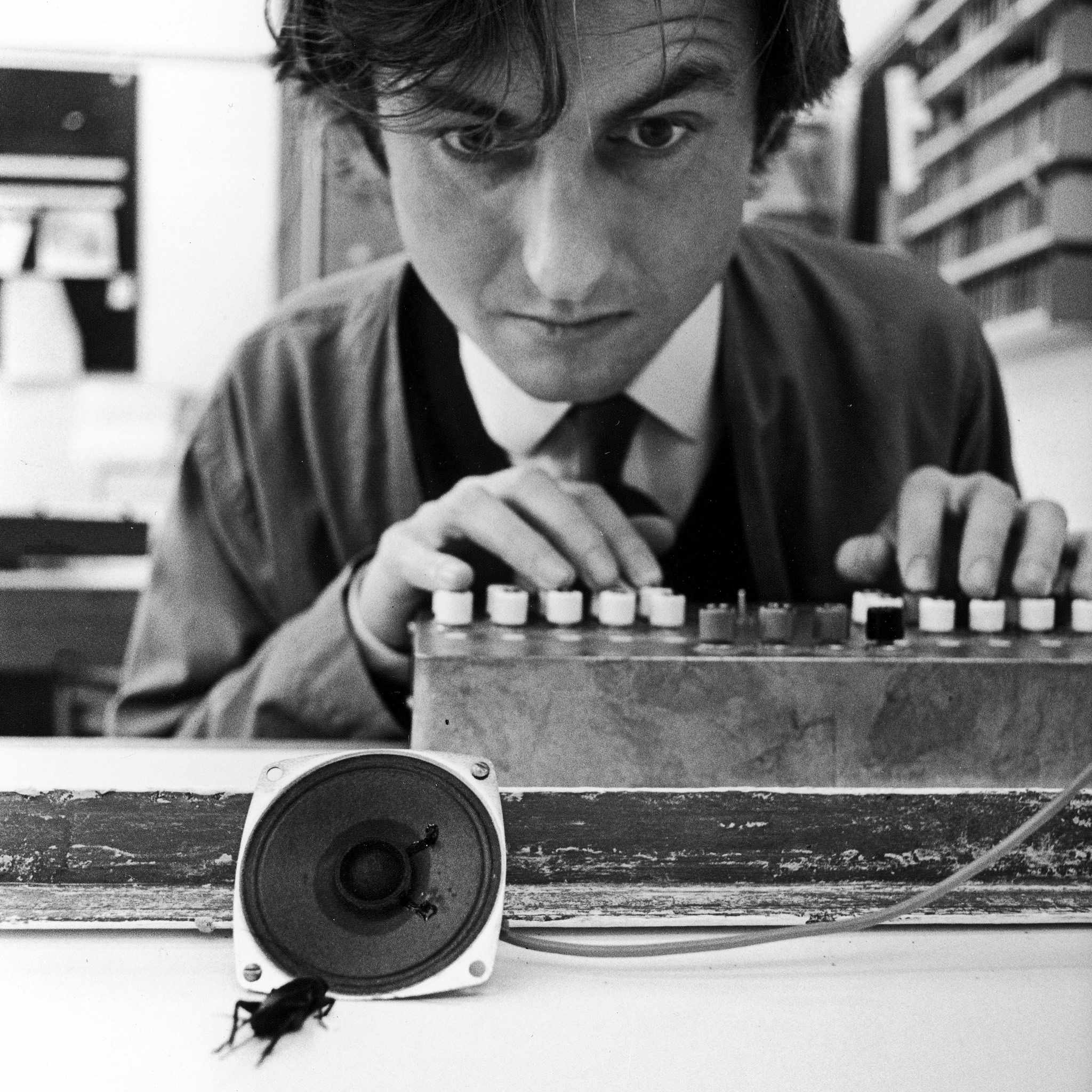 Dawkins at Oxford University in 1976 using computer-simulated mating calls to better understand how crickets chirp to one another © Getty Images