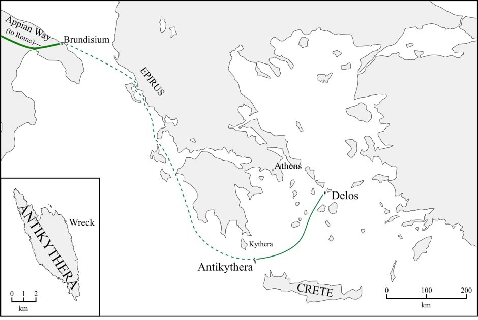 A possible itinerary for the ancient ship carrying the Antikythera Mechanism © Alexander Jones/d-maps.com
